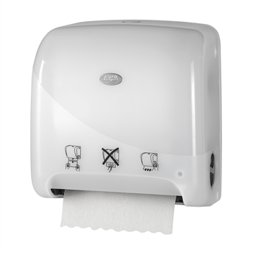 Clean2win White Autocut Mini Matic XL handdoekroldispenser (431109) BRUIKLEEN*